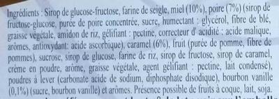 Pain d'épices au miel poire caramel vanille - Ingredients