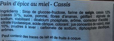 Pain d'épice au miel cassis - Ingrédients - fr
