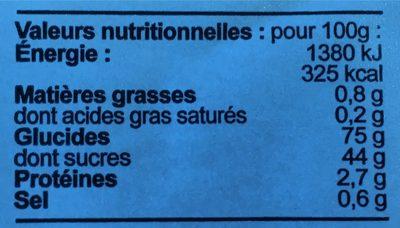 Pain d'épice au miel cassis - Informations nutritionnelles - fr