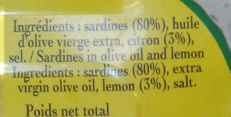 Sardine à l'ancienne à l'huile d'olive vierge extra au citron - Ingredients - fr