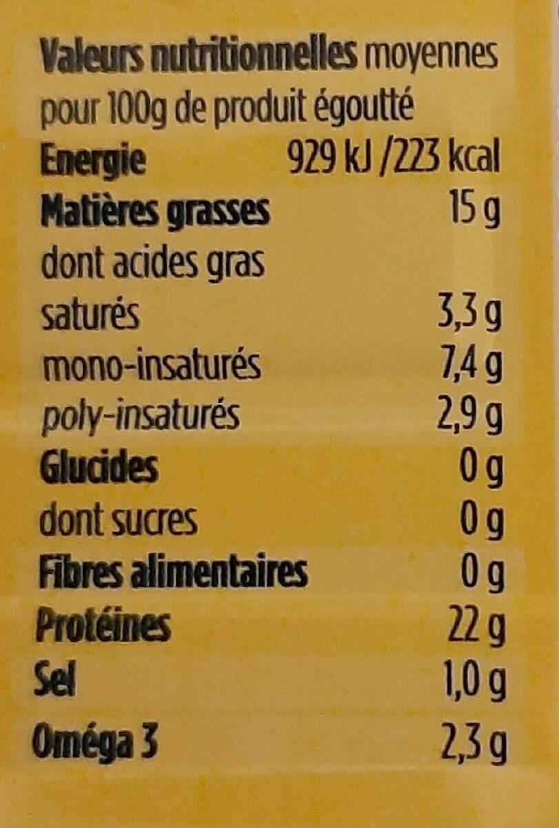 Sardines de Bretagne à l'huile d'olive et citron - Valori nutrizionali - fr