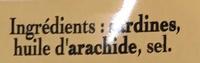 Sardines à l'Ancienne à l'Huile d'Arachide - Ingrédients - fr