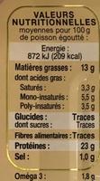 Sardines à l'Ancienne à l'Huile d'Arachide - Informations nutritionnelles - fr