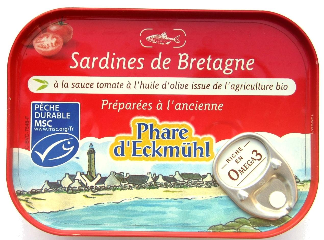 Sardines de Bretagne à la sauce tomate à l'huile d'olive issue de l'agriculture bio - 製品 - fr