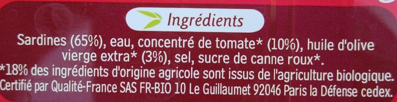 Sardines de Bretagne à la sauce tomate à l'huile d'olive issue de l'agriculture bio - 原材料 - fr