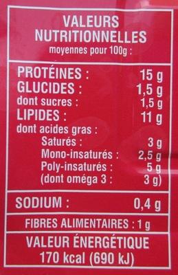 Sardines de Bretagne à la sauce tomate à l'huile d'olive issue de l'agriculture bio - 栄養成分表 - fr