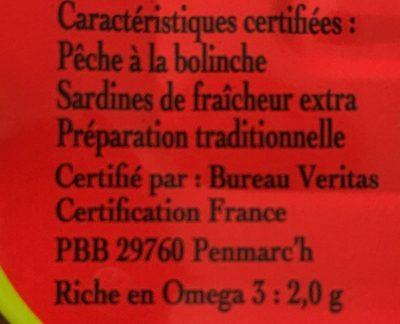 Filets de sardines label rouge - Ingredienti - fr