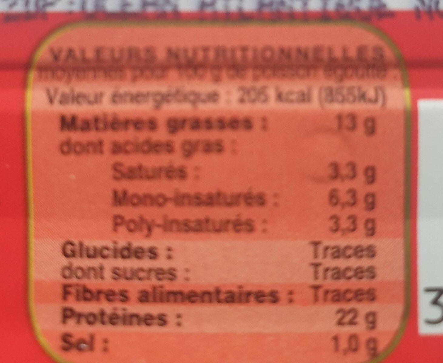 Filets de sardines label rouge - Valori nutrizionali - fr