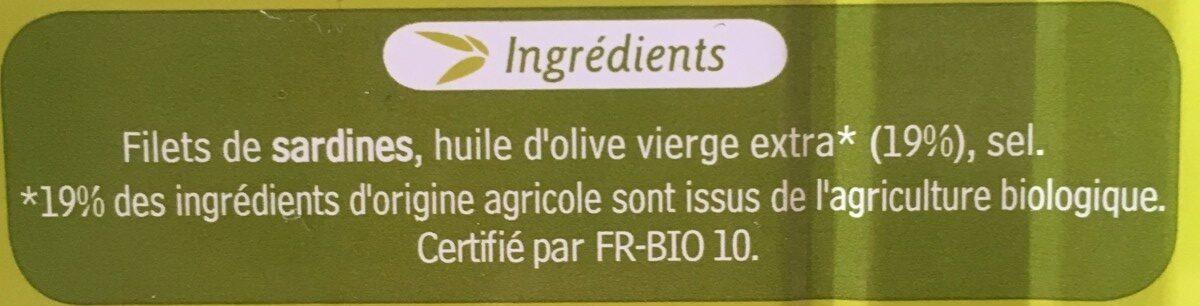 Filets de Sardines à l'huile d'olive vierge extra bio - Ingredients - fr