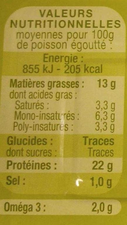 Filets de Sardines à l'huile d'olive vierge extra bio - Nutrition facts - fr