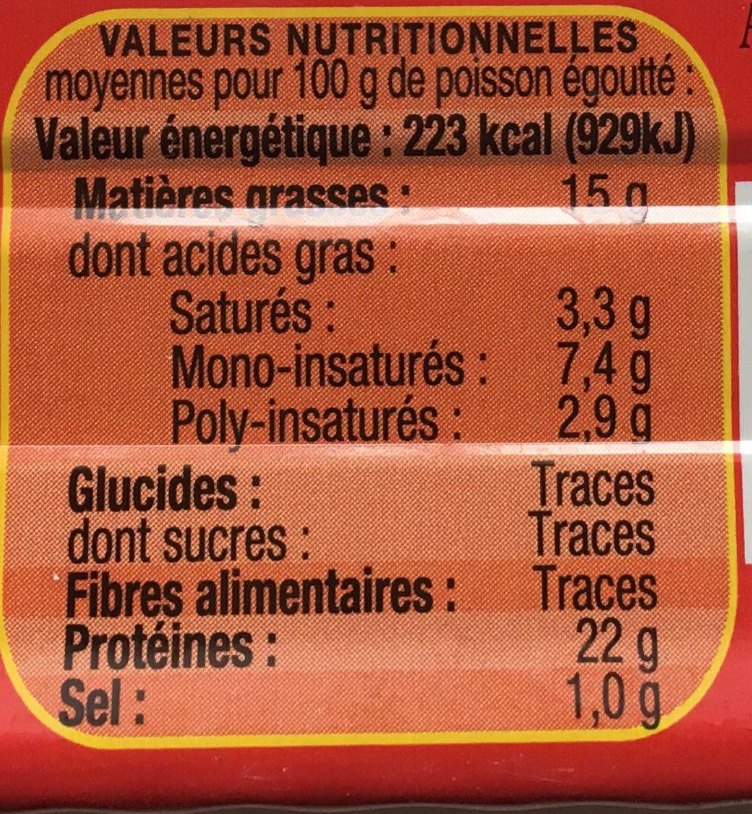 Sardines à l'Ancienne à l'Huile d'Olive vierge extra (Label Rouge) - Nutrition facts - fr