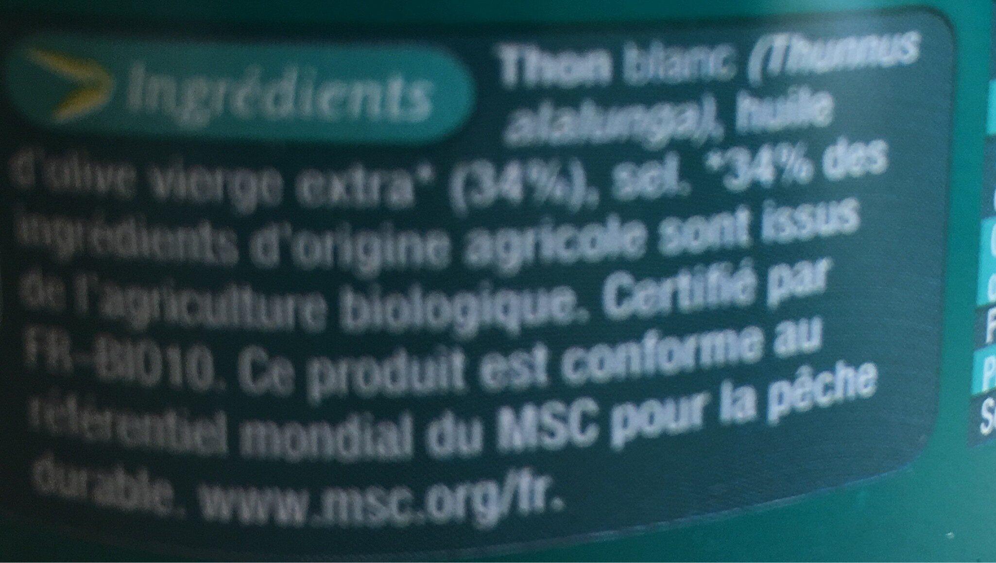Thon Blanc À l'huile d'olive vierge extra bio - Ingrédients