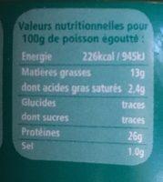 Thon Blanc À l'huile d'olive vierge extra bio - Informations nutritionnelles