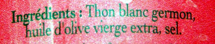 Thon Blanc (Véritable Germon) à l'Huile d'Olive vierge extra - Ingrédients
