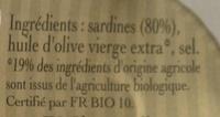 Sardines à l'Ancienne à l'Huile d'Olive vierge extra Bio - Ingrédients