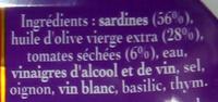 Sardines à l'Ancienne à l'Huile d'Olive vierge extra aux Tomates Séchées - 原材料 - fr