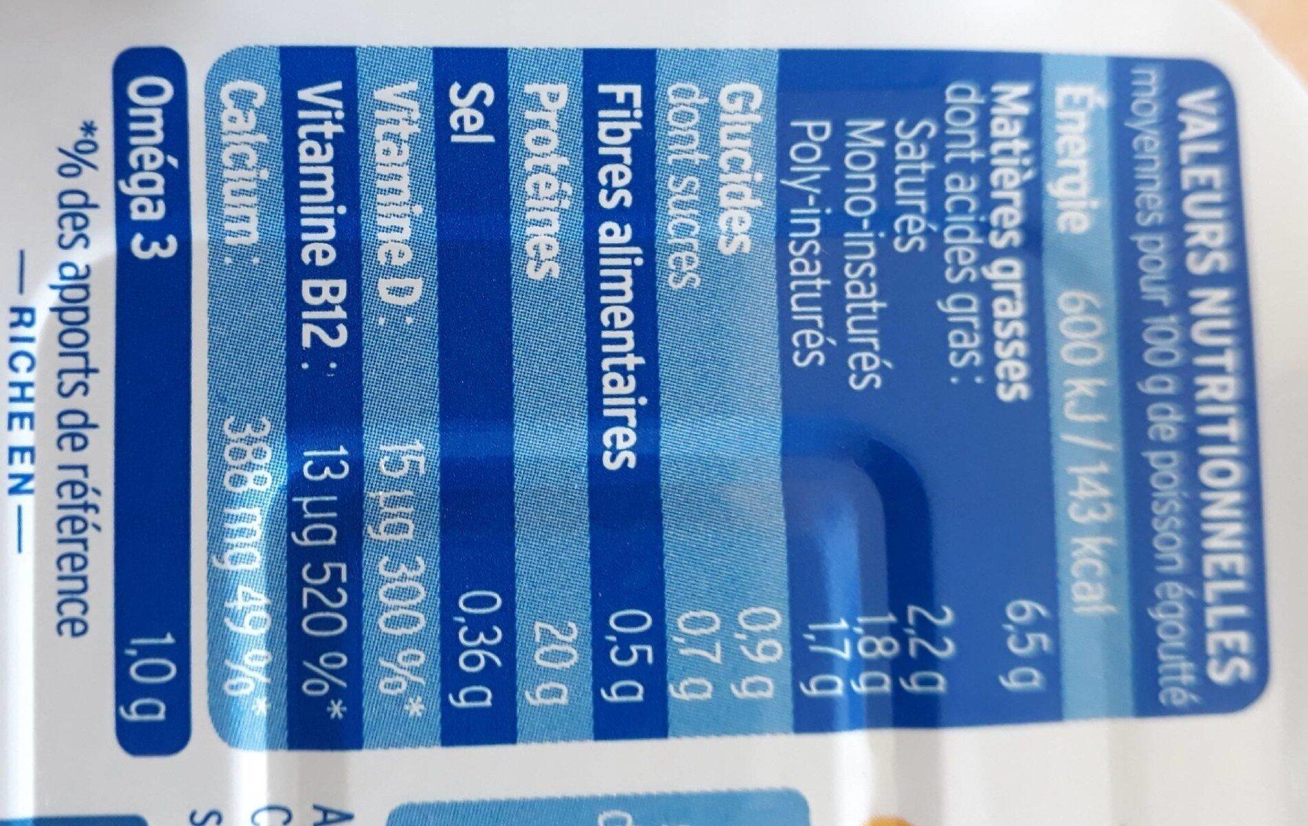 Sardines Marinade sans huile au citron Bio - Informazioni nutrizionali - fr