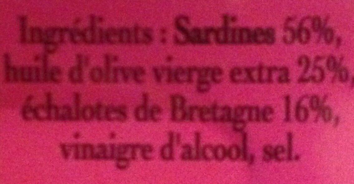 Sardines aux échalotes de bretagne - Ingrédients