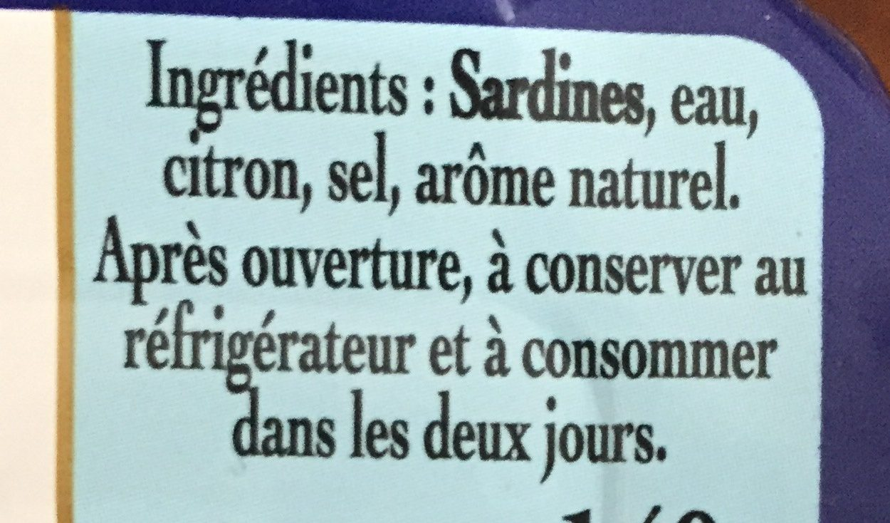 Sardines au naturel - Ingrédients