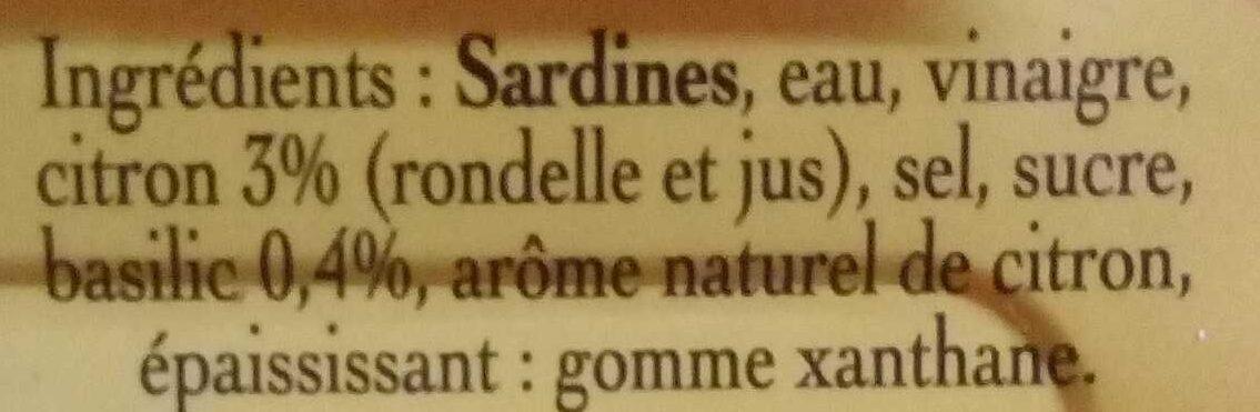 Sardines mar citron basilic sans huile 140g Cble - المكونات - fr