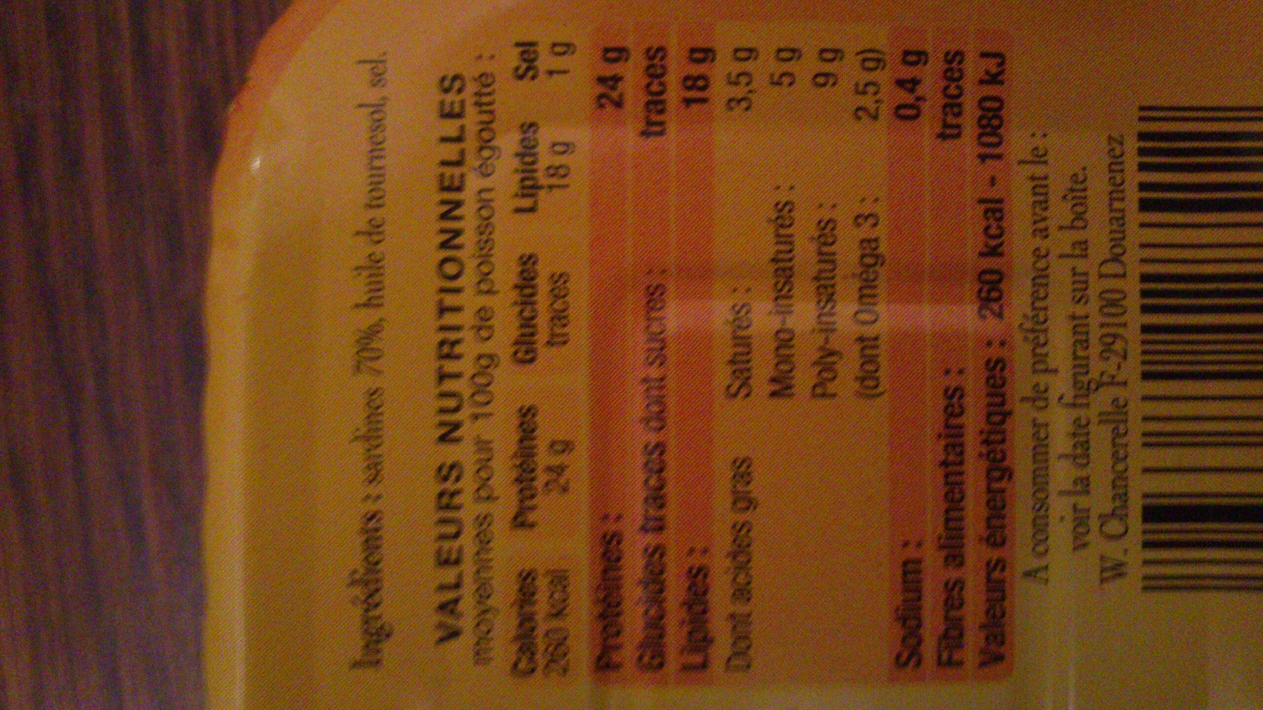 Sardines généreuses à l'huile de tournesol - Voedigswaarden