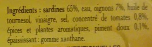 Sardines Généreuses à l'Escabèche - Ingrédients