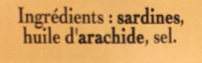 Sardines à l'huile d'arachide - Ingrédients