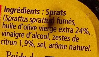 Sprats aux zestes de citron à l'huile d'olive - Ingrédients - fr
