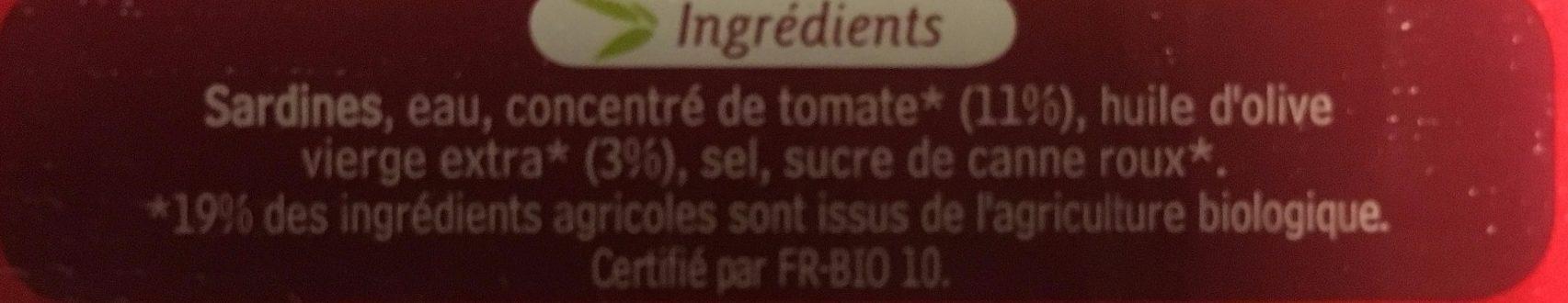 Sardines de Bretagne à la Sauce Tomate à l'Huile d'Olive Bio - Ingrédients