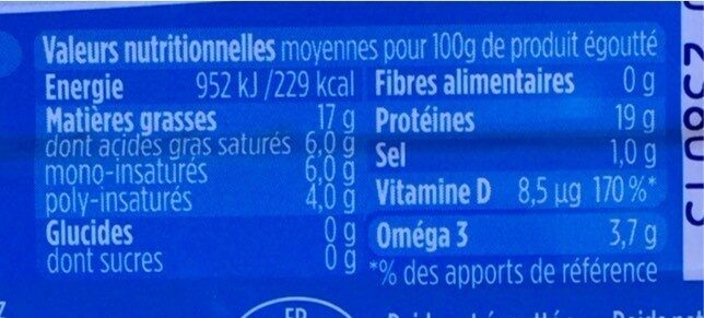 Filets de maquereaux au naturel - Nutrition facts - fr