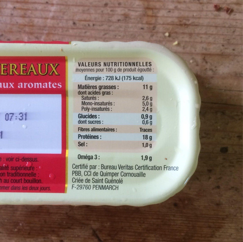 Filet de maquereaux au Muscadet et aux aromates - Nutrition facts