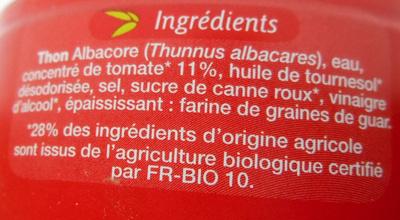 Miettes de thon à la tomate Bio - Ingrédients