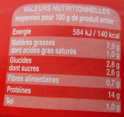 Miettes de thon à la tomate Bio - Informations nutritionnelles