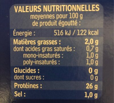 THON AU NATUREL LOT DE - Informations nutritionnelles