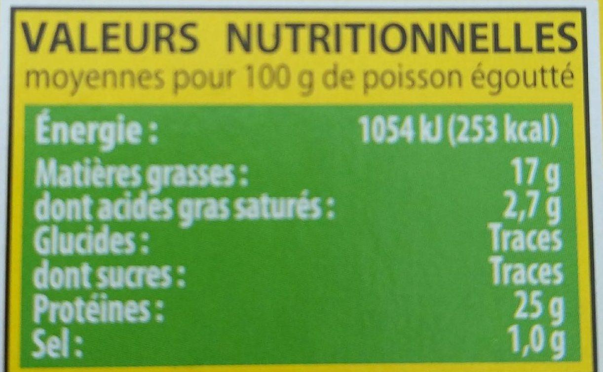 Thon à l'Huile d'Olive Vierge Extra - Nutrition facts