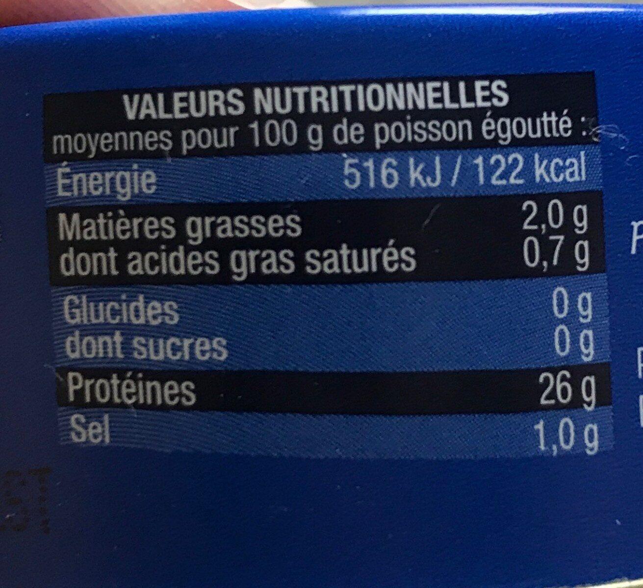 Thon Albacore au naturel pêché à la ligne - Valori nutrizionali - fr