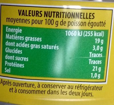 Le Savoureux Miettes Généreuses de Thon à l'Huile d'Olive Vierge Extra - Informations nutritionnelles - fr