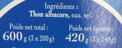 Thon entier 100% Filets au Naturel (+ 25% GRATUIT) - Ingrédients - fr
