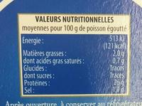 Thon entier 100% Filets au Naturel (+ 25% GRATUIT) - Informations nutritionnelles - fr