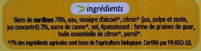 Filets de sardines marinés au citron bio - Ingrédients - fr