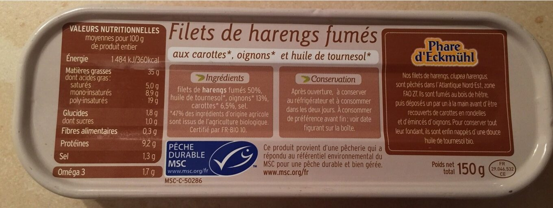 Filets de hareng fumés à l'huile de tournesol aux carottes oignons bio - Informations nutritionnelles - fr