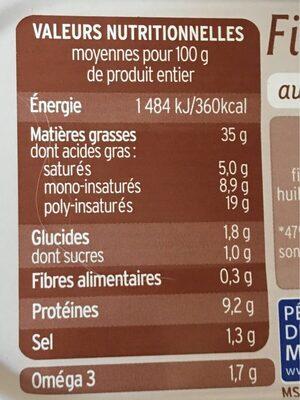 Filets de hareng fumés, aux carottes oignons bio - Informations nutritionnelles - fr