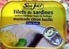 Filets de sardine marinade citron basilic (Sans huile) - Produit