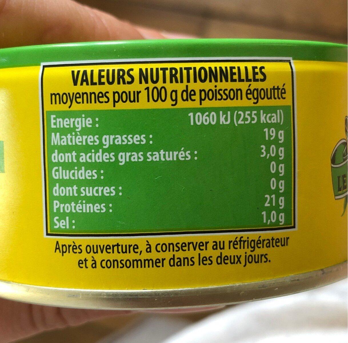Le savoureux, thon miettes genereuses a l'huile d'olive - Valori nutrizionali - fr