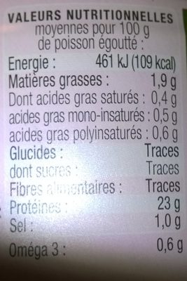 Saumon sauvage au naturel - Nutrition facts