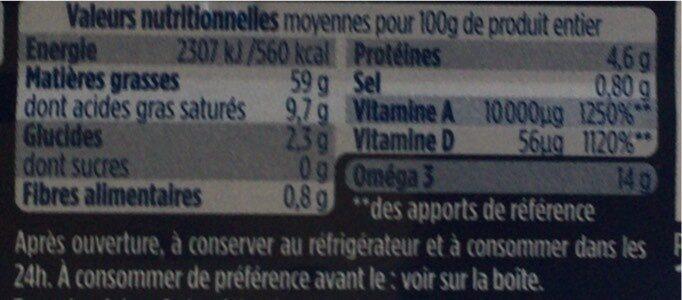 Foie de morue au naturel - Voedingswaarden - fr