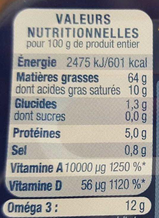 Foie de morue - Nutrition facts - fr