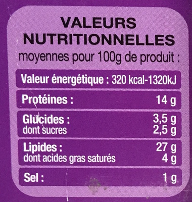 Emietté de Thon aux Tomates Séchées - Nutrition facts - fr