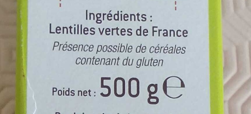 Lentilles Vertes de France Filière - Ingredients - fr