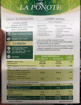 Lentilles Vertes du Puy - Valori nutrizionali - fr